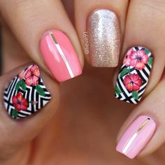Tropical Flower Nail Art With Hibiscus Bloom ❤️ Tropical nails are the best design for summertime madness since summer is the time of sun beach and vacations. Make your choice and rock the summer right! ❤️ See more: Tropical Flower Nails, Tropical Nail Designs, Tropical Nail Art, Diy Nail Designs, Tropical Vibes, Tropical Design, Hibiscus Nail Art, Nail Lacquer, Floral Nail Art