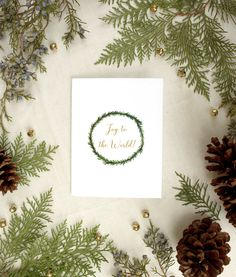 Joy to the World! Simple wreath Christmas Card from Everbloom Paper. Order Today!