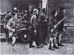 French résistants fighting against miliciens and pro-german french in Lyon septembre 3 1944.