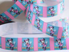 "Minnie Mouse Ribbon 5 yards of 7/8"" Teal & Pink Grosgrain Ribbon w/ Disney's Minnie For Hair Bow Birthday Party Favor Ties Minnie's Bowtique by HouseofHairDecor on Etsy"