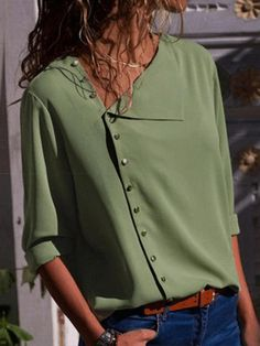 Effen kleur Lange Mouwen Polyester V-nek Casual Overhemd Overhemd, veryvoga. Vestidos Fashion, Diy Vetement, Mode Jeans, Types Of Sleeves, Full Sleeves, Shirt Blouses, Blouses For Women, Casual Shirts, Women's Casual