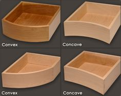 If your kitchen cabinets, furniture, or entertainment center include a curved contour, try a Solid Wood Curved Drawer Box, custom fit for your project in any wood specie!