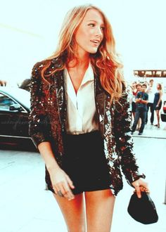 Blake Lively in a sparkled blazer looking sophisticated and fashion forward. #SocialblissStyle #Sequins #Blazer #Blakelively #Fashion #Shorts #Sparkle