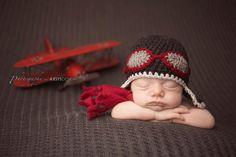 Aviateur pilote chapeau de bébé au crochet et correspondant photo set écharpe prop-choisissent la taille et prop photo couleurs-nouveau-né Plus