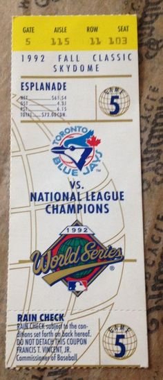 1992 World Series FALL CLASSIC Game 5 TORONTO BLUE JAYS Ticket Stub vs ATLANTA