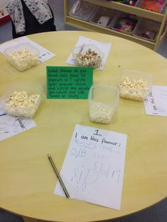 Reception- The Little Red Hen was the story of the week. UW- focus area and looking at how materials can change. We started with bread making and then moved to popcorn. In this activity,in our Literacy area the children had to taste the popcorn and then write down what flavour it was and also any adjectives they would use to describe it.It was a very popular activity.
