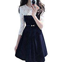 Dresses for Women ( Dress for Women PopMantra Women's A-Line Designer Blue and White Dress )