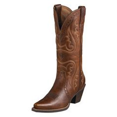 Heritage Western X-Toe Ladies' Boots by #Ariat - Sharp X-toe styling, premium leather, and the edgy triad design give these a sharp, New West attitude. Bright lights, big city? Bring it, they're ready to take on the good times