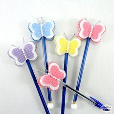 Lápis ou caneta c/ pont. borboleta baby