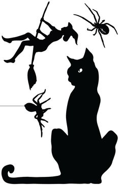 ohhh i love the black cat in this one halloween window cling silhouette witches by - Halloween Cat Decorations