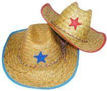 Childs Straw Cowboy Hats With Plastic Star (1 dz)