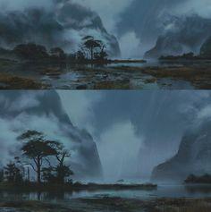 Gumroad Tutorial - Designing Landscapes in Photoshop, Stéphane Wootha Richard on ArtStation at https://www.artstation.com/artwork/xG6Q4