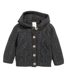 Check this out! CONSCIOUS. Cable-knit cardigan in soft organic cotton with a hood. Buttons at front. - Visit hm.com to see more.
