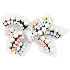 SHOUROUK Bow Rainbow Pin ($406) ❤ liked on Polyvore featuring jewelry, brooches, white, swarovski crystal brooch, rainbow jewelry, white jewelry, pin brooch and bow brooch
