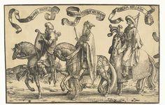 Lucas van Leyden | Koningen David, Salomo en Jerobeam, Lucas van Leyden, 1518 - 1522 | Eén van vier houtsneden, onderdeel van fries met koningen van Israël. David met lier te paard, gevolgd door Salomo en Jerobeam te paard. Boven alle drie banderol met naam en toenaam.