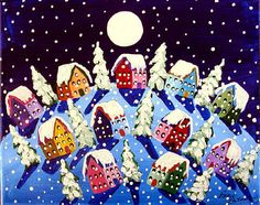 Peace on Earth Silent Night Winter Snow Moon Painting Whimsical Original Folk Art by reniebritenbucher