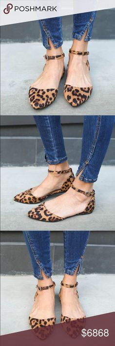 "COMING SOON! Leopard Ankle Strap Flats Leopard Ankle Strap Flats A beautiful suede detailed flat that is a must have for every outfit! A pointed toe silhouette with an ankle cuff and buckle closure. Finished with a lightly padded insole. Super comfortable and chic for work or play!  Material: Vegan Suede (man-made) Sole: Rubber Measurement Heel Height: 0.25"" Flat (approx). No Trades. Price is Firm Unless Bundled. GlamVault Shoes Flats & Loafers"