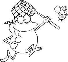 Free printable frog chasing dinner coloring pages