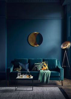 'The Interior Design Trends in - With Rockett St George & Busola Evans — HORNSBY STYLE How fabulous does this teal sofa look against the bold dark blue walls. Richmond 3 seater sofa (in velvet teal) from £. Teal Velvet Sofa, Teal Sofa, Blue Sofas, Velvet Room, Green Velvet, Dark Blue Walls, Teal Walls, Dark Blue Lounge, Dark Blue Couch