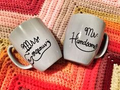 Mr. & Mrs. Good Morning Handsome and Gorgeous Matching Mugs on Etsy, $10.00