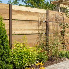 Construire une clôture ajourée en cèdre - Terrasse et jardin Metal Garden Gates, Garden Fencing, Cedar Fence, Fence Gate, Fence Panels, Back Gardens, Outdoor Gardens, Fence Screening, Garden Privacy