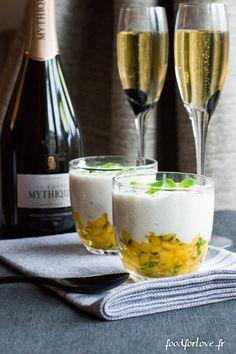 Mousse Légère Vanillée, Brunoise de Mangue au Citron Vert et à la Menthe - Food for Love