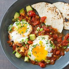 Huevos Rancheros from Cook's Country with eggs poached in homemade ...