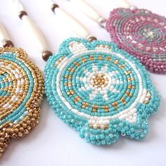 Beaded Mikinaak Pendants by Jessica R. Metcalfe (Turtle Mountain Chippewa)