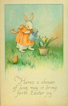 Cartoline vintage di Buona Pasqua! - un giardino in diretta