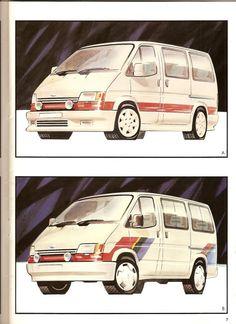 1985 Transit Consept Brochure (very rare) L Ford Transit Camper, Camper Conversion, Hanging Out, First Love, Van, Concept, Proposals, Retro, Illustration