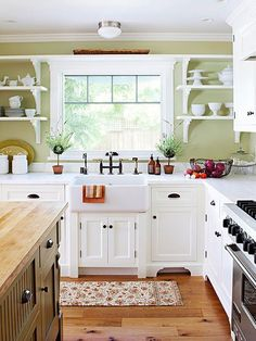 White Kitchen Green Walls 10 beautiful kitchens with green walls | counter top, green walls