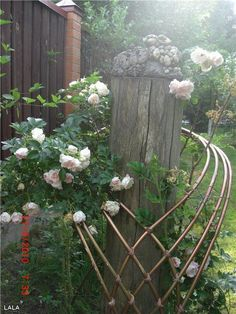 Sinuous trellis design – this unique collar-like vine support could be made of flexible copper tubing. Arbors Trellis, Diy Trellis, Trellis Design, Garden Trellis, Lattice Design, Garden Crafts, Garden Projects, Garden Ideas, Garden Arbor