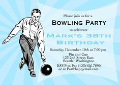 Adult Birthday invitation printable Bowling party by CupidDesigns, $20.00