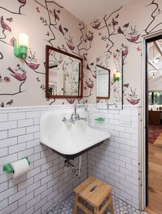 Traditional Subway Tile Powder Room Design Ideas, Pictures, Remodel and Decor