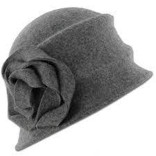 Grey felt hat with self trim flower