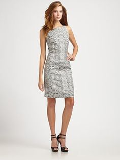 Pink Tartan  Metallic Snake-Print Dress