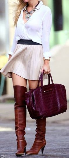 Over the knee boots + statement necklace (love the bag, too!)