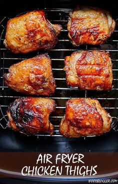 Air fryer chicken thighs with crispy skin and tender and juicy meat. Glazed with. , Air fryer chicken thighs with crispy skin and tender and juicy meat. Glazed with. Air fryer chicken thighs with crispy skin and tender and juicy mea. Air Fryer Oven Recipes, Air Frier Recipes, Air Fryer Dinner Recipes, Air Fryer Chicken Recipes, Air Fryer Chicken Thighs, Air Fryer Chicken Tenders, Air Fryer Chicken Thigh Recipe, Air Fryer Fried Chicken, Cooks Air Fryer