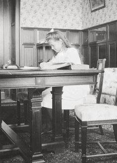 "Grand Duchess Maria Nikolaevna Romanova of Russia studying at Livadia. ""AL"""