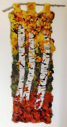 Aspen tapestry felted 'Bending Trees' van CoyoteRimStudio op Etsy