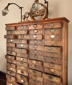 "The latest trend in design are old card catalogues from various ""professions"" - not just from the library!  They'll work in any style or setting you may already have place in your home."