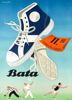 1950 Sport and tennis shoes by Bata, Swiss shoes manufacturer vintage advert poster