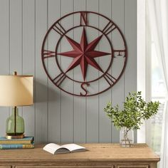 Beachcrest Home Antique Compass Rose Wall Décor Wall Decor Set, Metal Wall Decor, Metal Wall Art, Travel Wall Decor, Wood And Metal, Metal Walls, Cottage Dining Rooms, Living Room, Compass Wall Decor