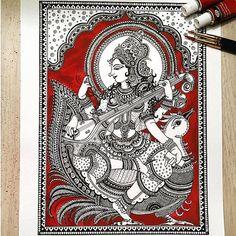 Goddess Saraswathi Art Print by RashmiArtPage on Etsy