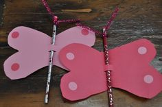 A great party favour idea.  Quick and easy.  Cutout butterfly shape, thread pencil for body, add pipe cleaners for antennae and decorate!