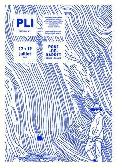 PLI Festival n°1 Pont-de-Barret (atelier HURF, Yannis Frier) #affiche #festival #affichefestival #pontdebarret #PLI #drôme
