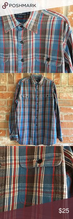 """Men's Flannel Shirt By Ralph Lauren 100% Cotton This shirt is in EUC. No flaws. It is very warm for those cold days! In Texas my husband don't have much use for it 💜 it measures 25"""" underarm to underarm and is 32"""" long. I 💜 the softness and color of this one! Polo by Ralph Lauren Shirts Casual Button Down Shirts"""