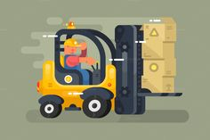 Storekeeper loader flat design by Kit8.net on @creativemarket