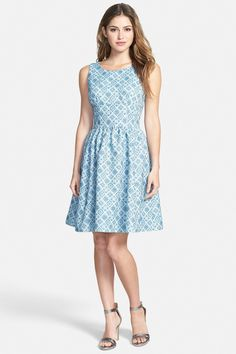 Print Sleeveless Fit & Flare Dress  by Halogen on @nordstrom_rack