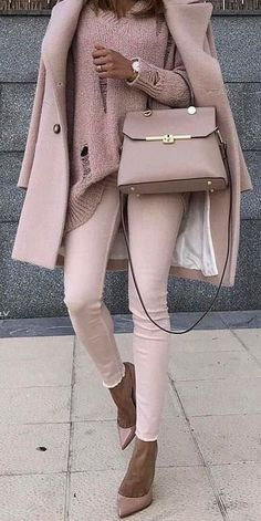 all blush everything skinnies + ripped sweater + coat mixed with pumps